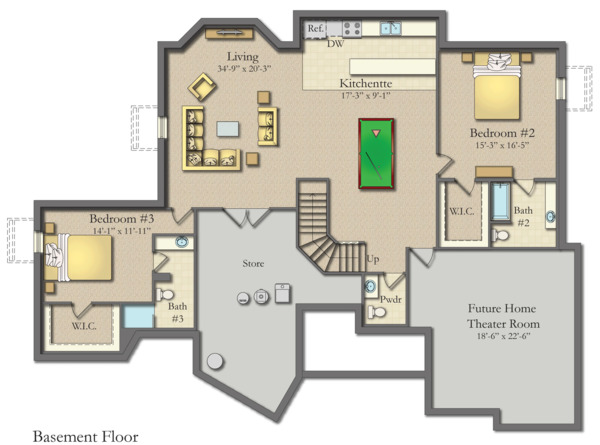 Craftsman Floor Plan - Lower Floor Plan Plan #1057-17