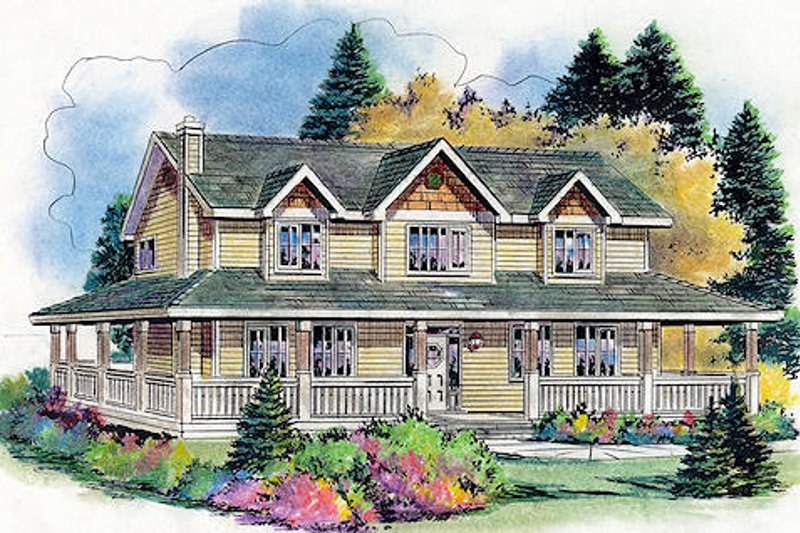 Country Style House Plan - 5 Beds 2.5 Baths 2388 Sq/Ft Plan #18-4460 Exterior - Front Elevation