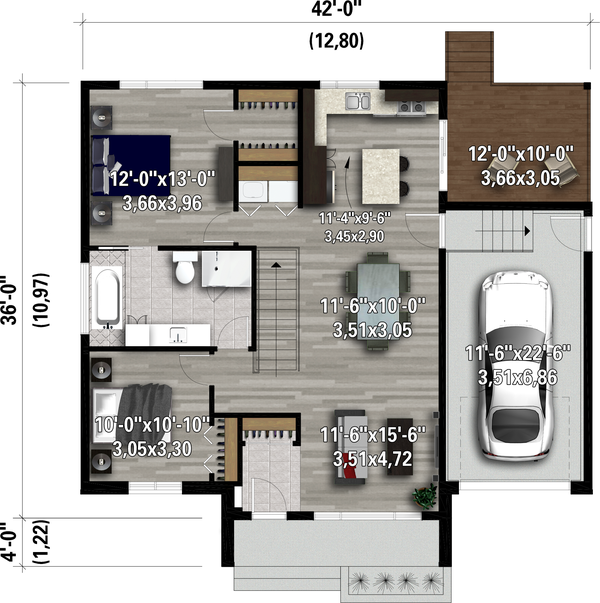 Contemporary Floor Plan - Main Floor Plan #25-4902