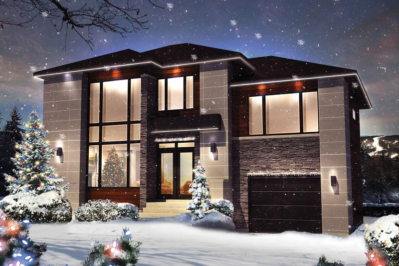 Contemporary Style House Plan - 4 Beds 2 Baths 1890 Sq/Ft Plan #25-4307 Exterior - Front Elevation