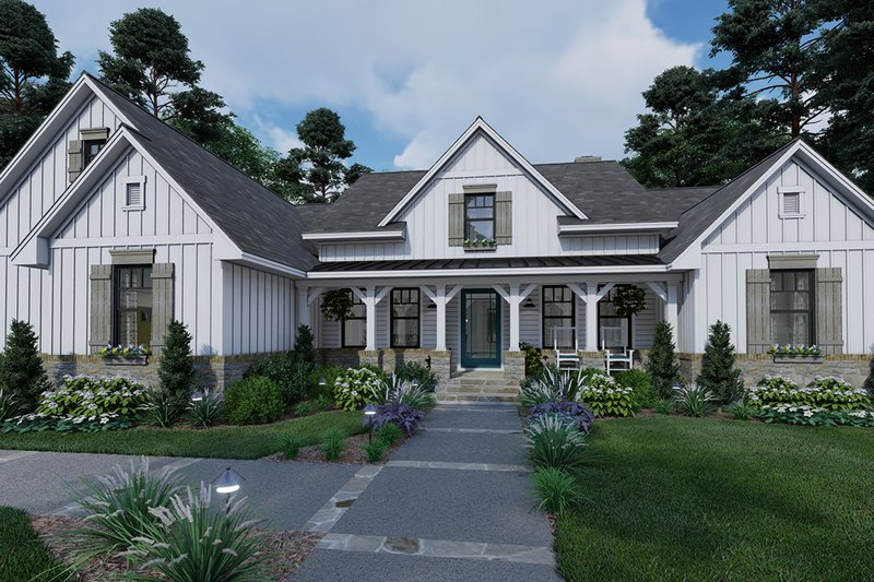 Farmhouse Style House Plan - 4 Beds 2 Baths 2459 Sq/Ft Plan #120-265 Exterior - Front Elevation