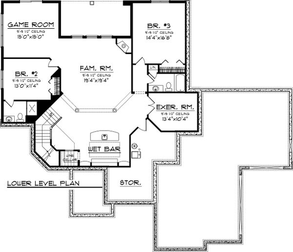 Ranch Floor Plan - Lower Floor Plan Plan #70-1067