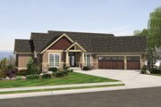 Craftsman Style House Plan - 4 Beds 3.5 Baths 3506 Sq/Ft Plan #48-467 Exterior - Front Elevation