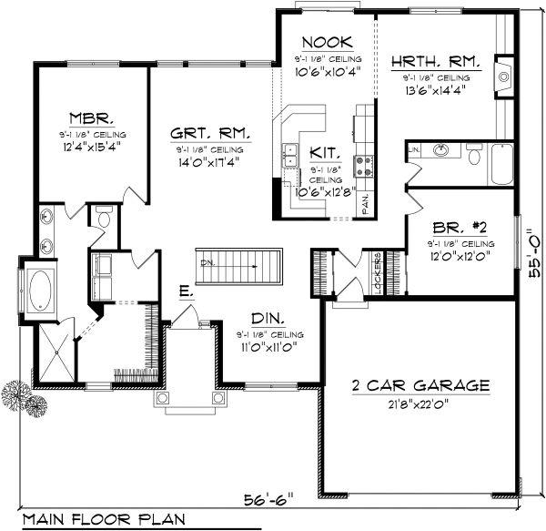 Ranch Floor Plan - Main Floor Plan Plan #70-1115