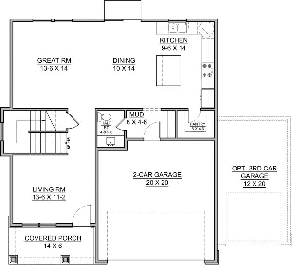 Traditional Floor Plan - Main Floor Plan Plan #1073-9