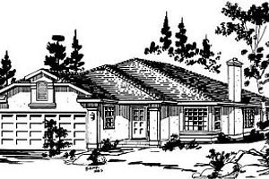 Ranch Exterior - Front Elevation Plan #18-132