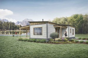 Cabin Exterior - Front Elevation Plan #924-9