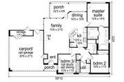 Contemporary Style House Plan - 3 Beds 2 Baths 1446 Sq/Ft Plan #84-514 Floor Plan - Main Floor