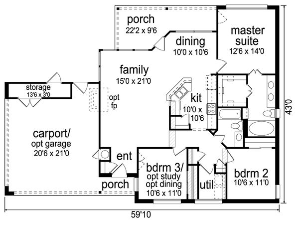 Contemporary Floor Plan - Main Floor Plan Plan #84-514