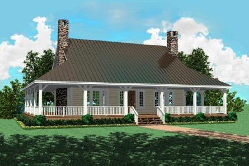 Country Style House Plan - 3 Beds 2.5 Baths 2207 Sq/Ft Plan #81-493 Exterior - Front Elevation