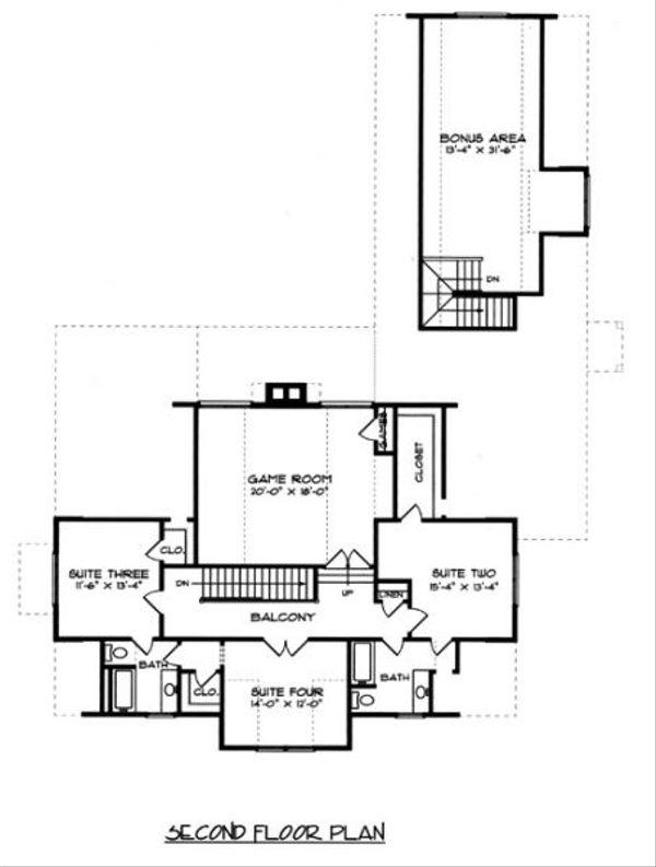 European Floor Plan - Upper Floor Plan Plan #413-131