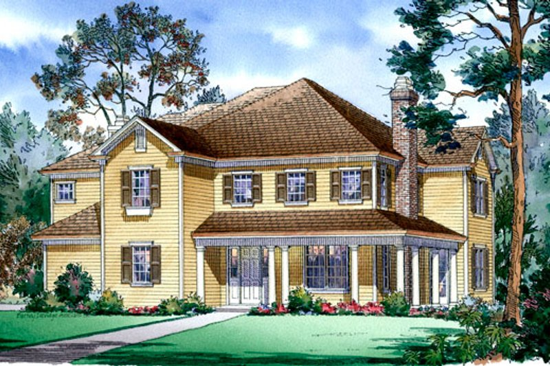 Farmhouse Style House Plan - 5 Beds 4.5 Baths 4427 Sq/Ft Plan #490-8 Exterior - Front Elevation