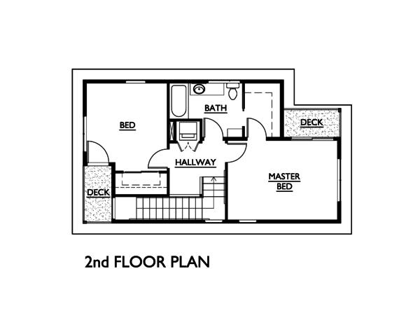Modern Style House Plan - 3 Beds 1.5 Baths 1248 Sq/Ft Plan #890-5 Floor Plan - Upper Floor Plan