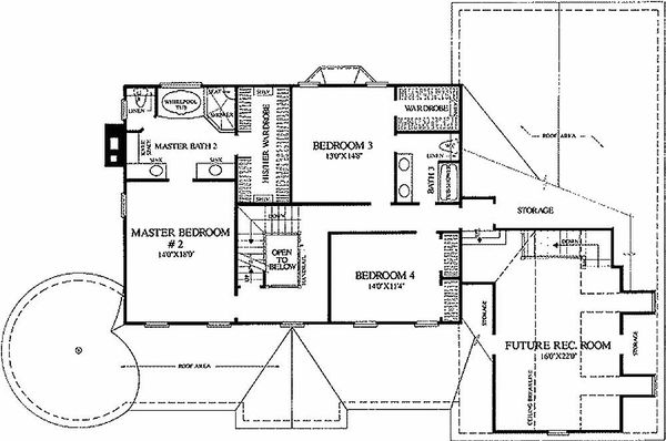 Colonial Style House Plan - 4 Beds 3.5 Baths 3359 Sq/Ft Plan #137-119 Floor Plan - Upper Floor Plan