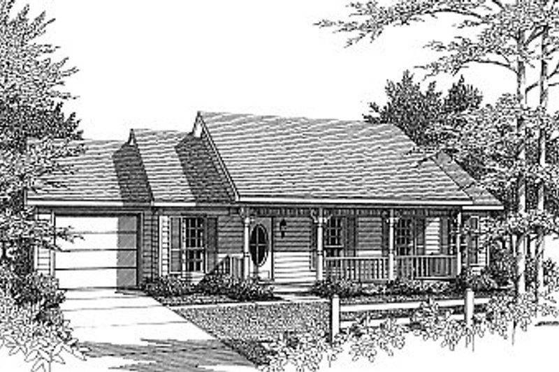 Country Style House Plan - 3 Beds 2 Baths 1120 Sq/Ft Plan #14-151 Exterior - Front Elevation