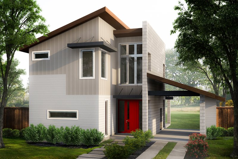 Home Plan - Contemporary Exterior - Front Elevation Plan #80-218