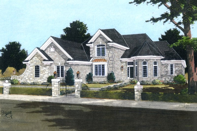 European Exterior - Front Elevation Plan #46-137
