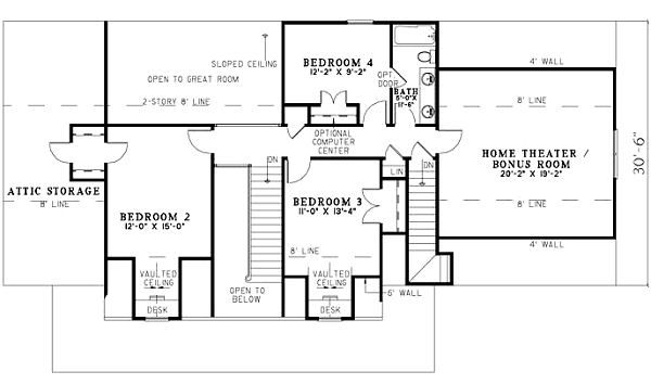 Traditional Floor Plan - Upper Floor Plan Plan #17-1179