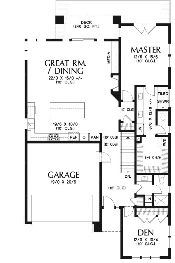 Contemporary Floor Plan - Main Floor Plan Plan #48-961