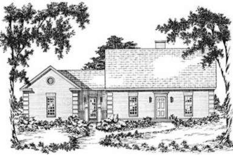 Southern Exterior - Front Elevation Plan #36-405
