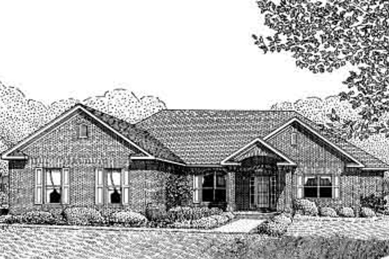 Traditional Exterior - Front Elevation Plan #11-122 - Houseplans.com