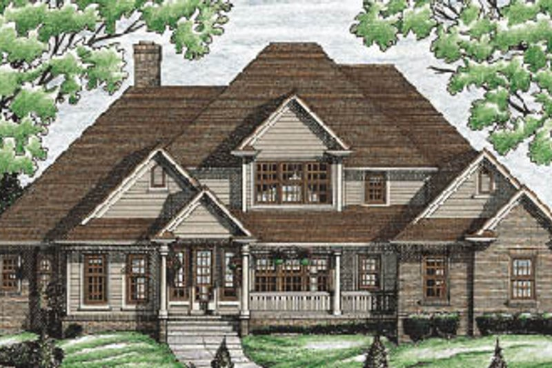 Traditional Style House Plan - 4 Beds 2.5 Baths 3440 Sq/Ft Plan #20-211 Exterior - Front Elevation
