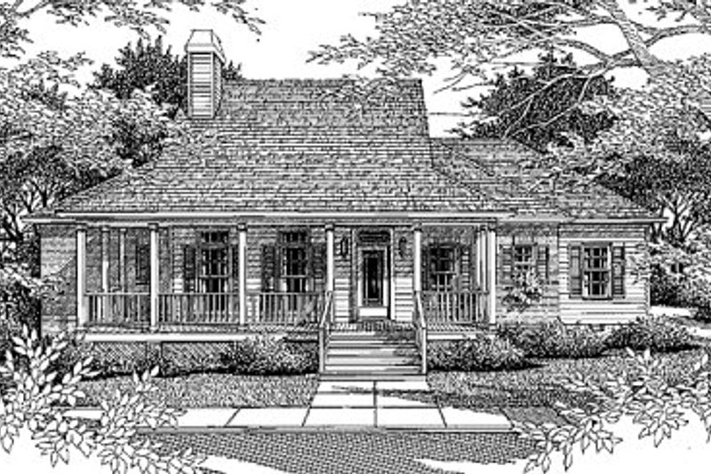 Country Style House Plan - 3 Beds 2 Baths 1595 Sq/Ft Plan #41-119 Exterior - Front Elevation