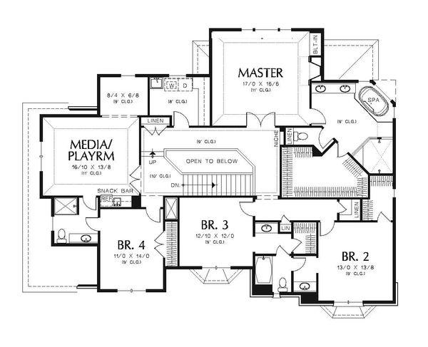 European Floor Plan - Upper Floor Plan Plan #48-547