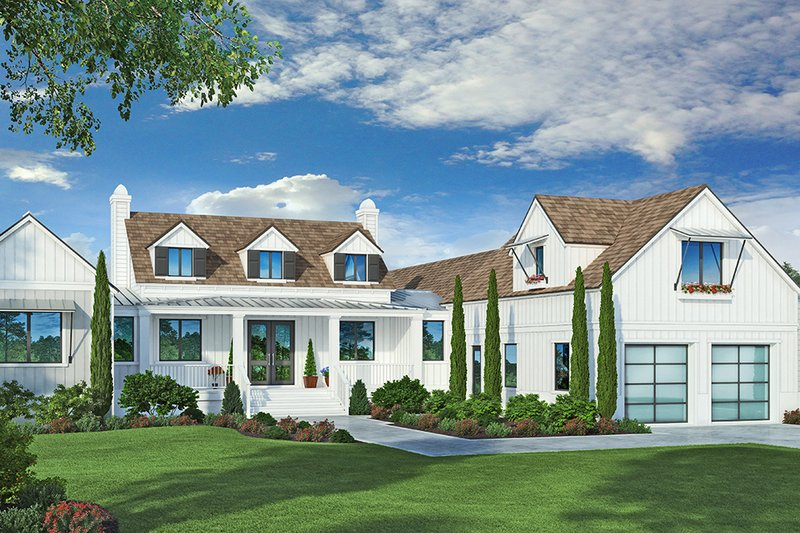 Farmhouse Style House Plan - 4 Beds 6 Baths 4388 Sq/Ft Plan #938-105 Exterior - Front Elevation