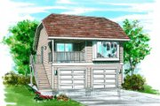 Bungalow Style House Plan - 1 Beds 1 Baths 1012 Sq/Ft Plan #47-510 Exterior - Front Elevation