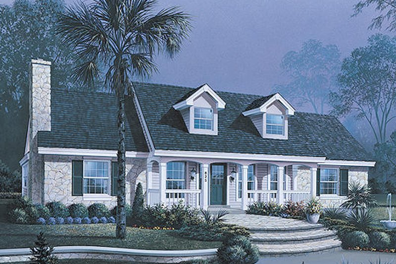 Country Style House Plan - 3 Beds 2.5 Baths 1559 Sq/Ft Plan #57-326 Exterior - Front Elevation