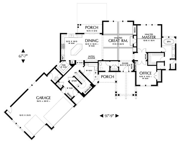 Craftsman Floor Plan - Main Floor Plan Plan #48-647