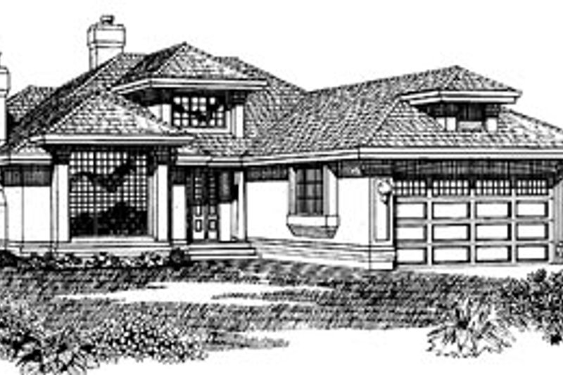 European Style House Plan - 3 Beds 2 Baths 1692 Sq/Ft Plan #47-188 Exterior - Front Elevation