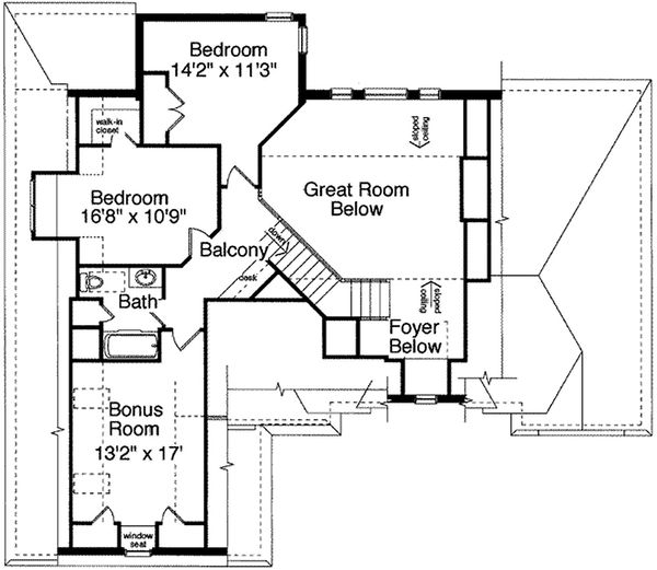 Traditional Floor Plan - Upper Floor Plan Plan #46-132
