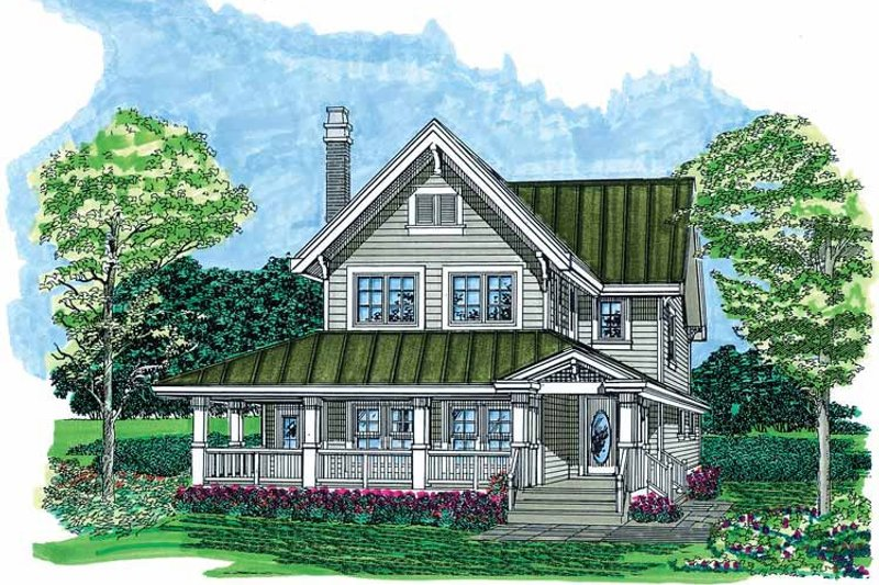 House Blueprint - Country Exterior - Front Elevation Plan #47-1022