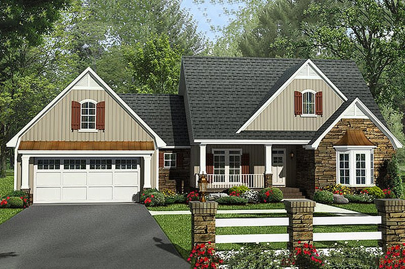 Craftsman Exterior - Front Elevation Plan #21-312