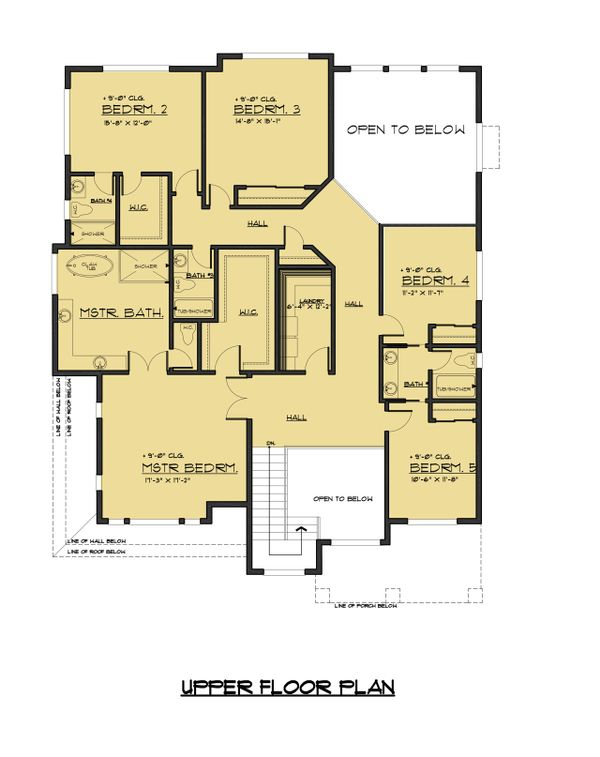 Contemporary Floor Plan - Upper Floor Plan #1066-69