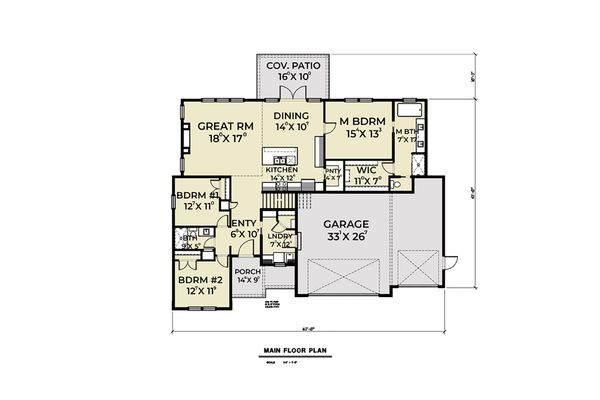 Farmhouse Floor Plan - Main Floor Plan Plan #1070-32