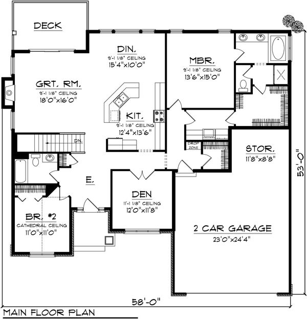 Home Plan Design - Traditional Floor Plan - Main Floor Plan #70-1080