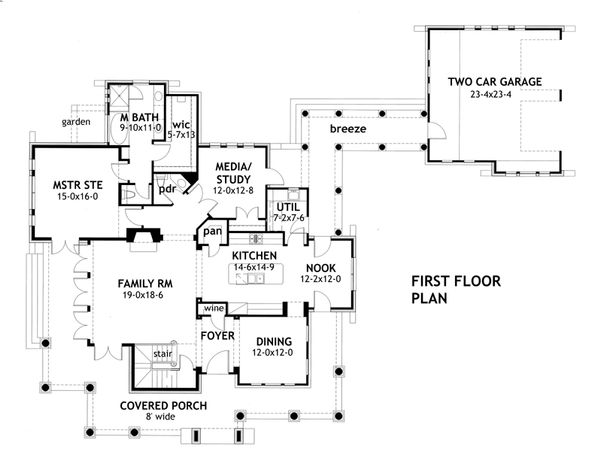 Craftsman Floor Plan - Main Floor Plan Plan #120-167