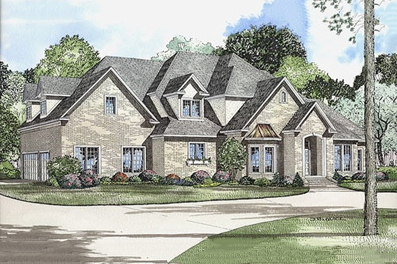 European Style House Plan - 4 Beds 4 Baths 4488 Sq/Ft Plan #17-569 Exterior - Front Elevation