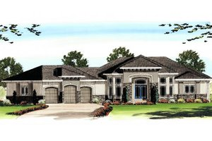 Mediterranean Exterior - Front Elevation Plan #455-105