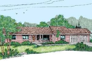 Ranch Exterior - Front Elevation Plan #60-414