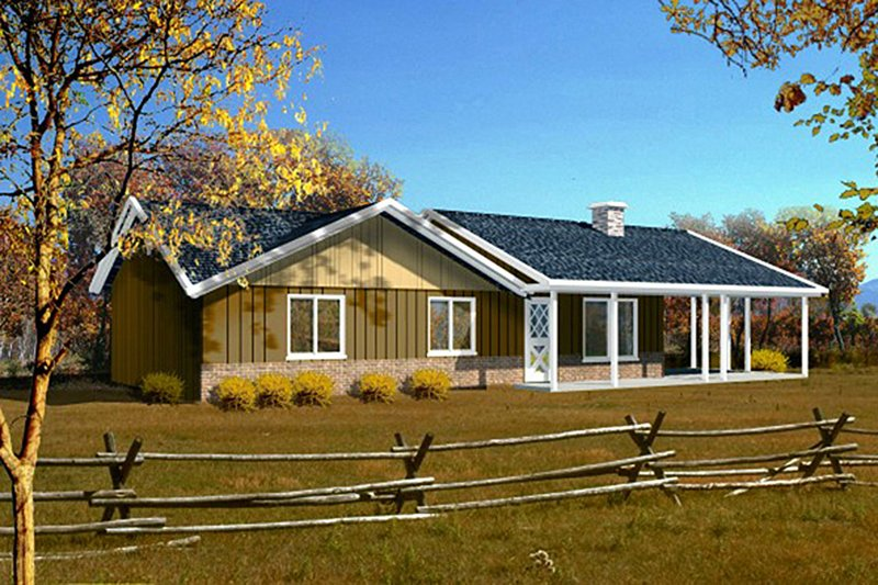 Ranch Exterior - Front Elevation Plan #1-1044