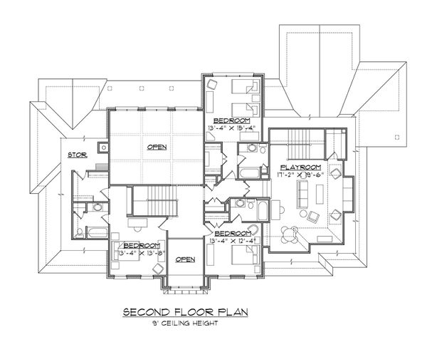 Classical Floor Plan - Upper Floor Plan Plan #1054-63