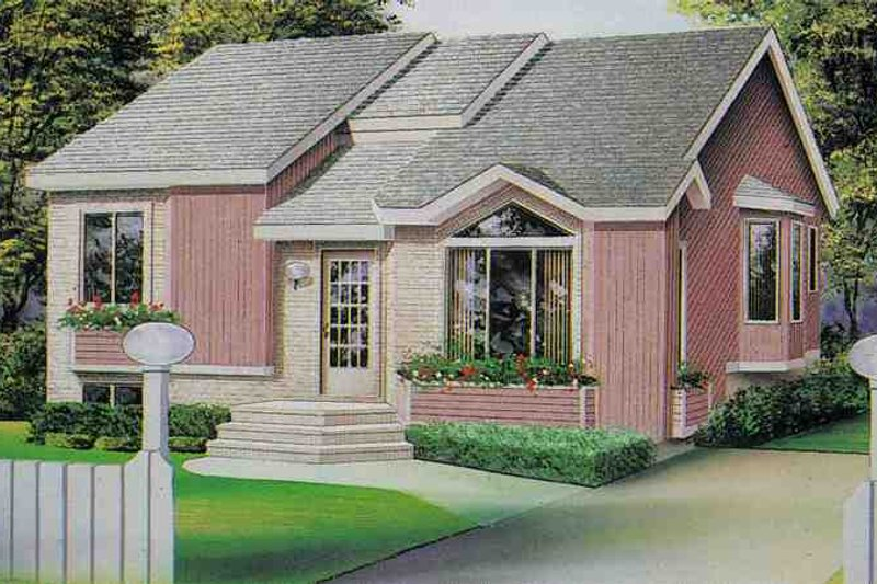 Traditional Style House Plan - 3 Beds 1 Baths 1103 Sq/Ft Plan #25-1128 Exterior - Front Elevation