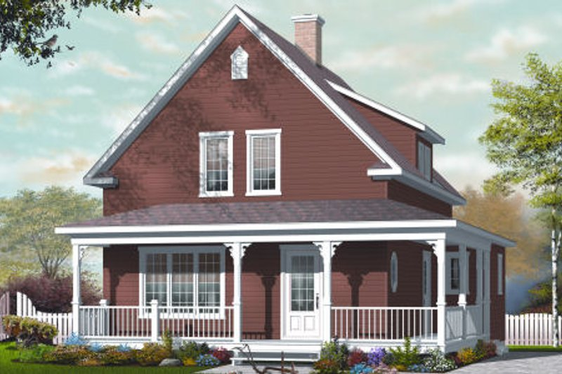 Country Style House Plan - 3 Beds 1.5 Baths 1501 Sq/Ft Plan #23-2239 Exterior - Front Elevation