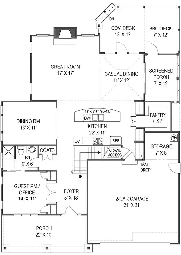 Craftsman Floor Plan - Main Floor Plan Plan #119-370
