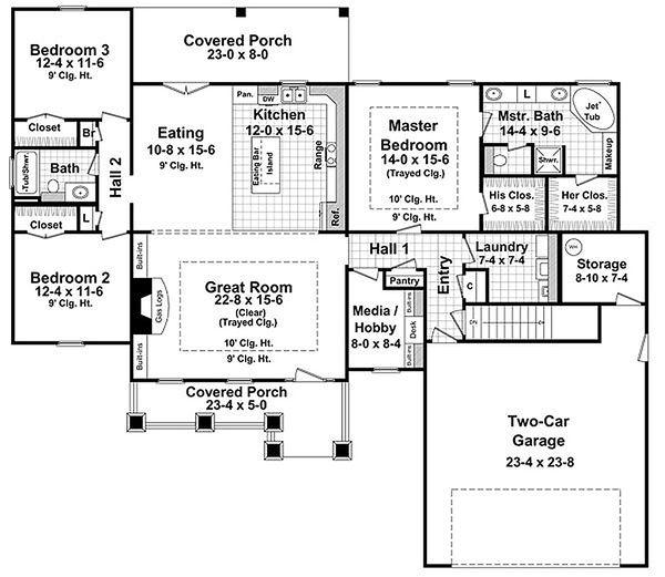 Craftsman Floor Plan - Main Floor Plan Plan #21-274