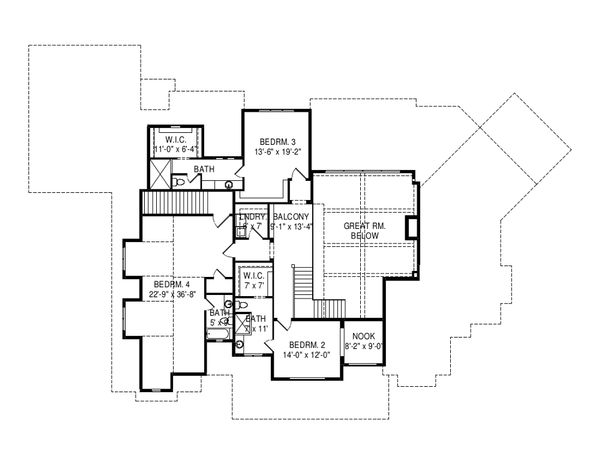 Craftsman Floor Plan - Upper Floor Plan Plan #920-96